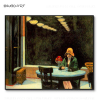 Skilled Artist Reproduce Edward Hopper Artwork Automat Oil Painting on Canvas Hopper Painting Beauty Lady Sitting Oil Painting