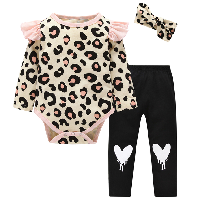cc80f3584c3 2019 Cute Baby Girl Clothes Spring Toddler Tops+Leopard Print Pants  Leggings Headband Children Girls Clothing Set Newborn outfit