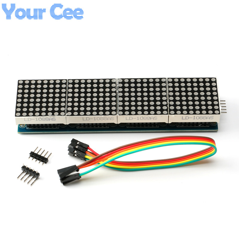 1 pc MAX7219 Dot Matrix Module For Arduino Microcontroller 4 In One Display with 5P Line