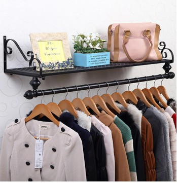 8028cm iron clothing racks wall hanger holder bedroom clothes storage shelves hangers rack hanging - Clothes Wall Hanger