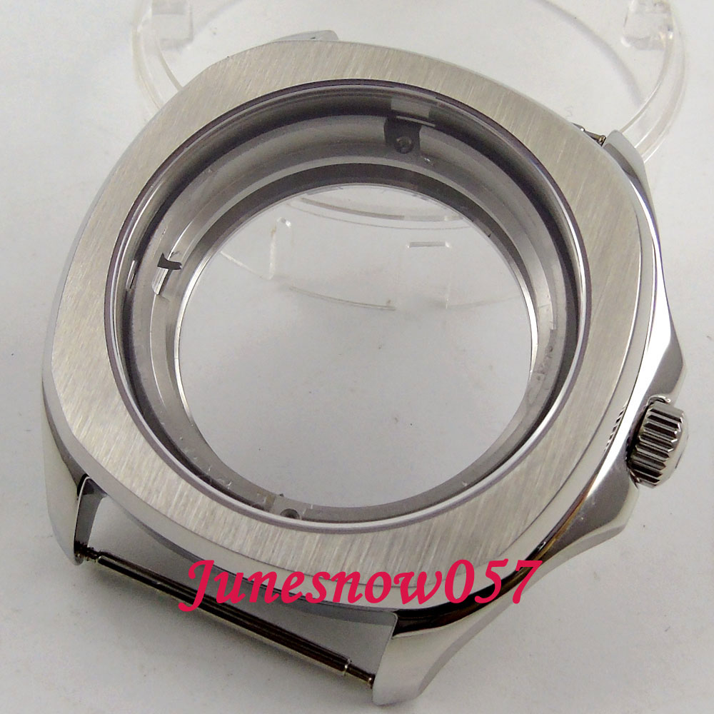 Parnis 40mm brushed 316L watch case Sapphire crystal see through back case Fit ETA 2836 miyota