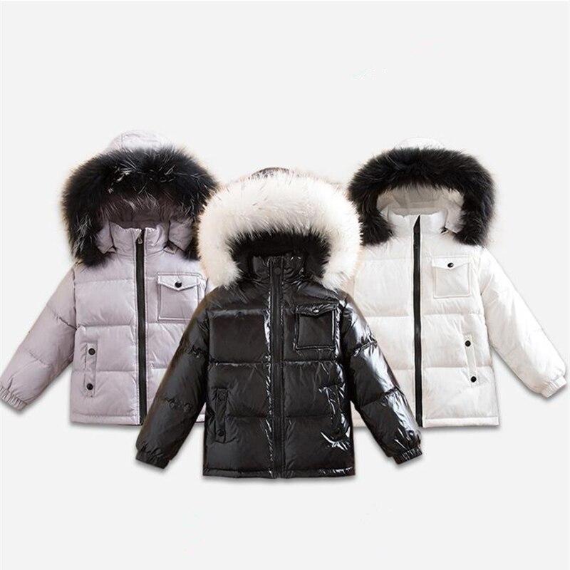Marque hiver enfants canard vers le bas vestes pour garçons fille vêtements de neige enfant épais manteau à capuche avec col de fourrure bambin parc pardessus Parkas