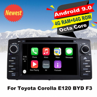 Support Apple Carplay Android9.0 Car DVD GPS Navigation Multimedia Player For Toyota Corolla E120 BYD F3 Auto Audio radio Stereo