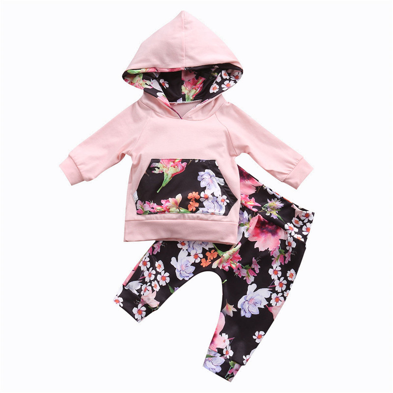 2PCS High Quality Infant Baby Girls Clothes Cotton Hooded Long Sleeve Tops T-shirt+Floral Pants Baby Clothing Set Outfits