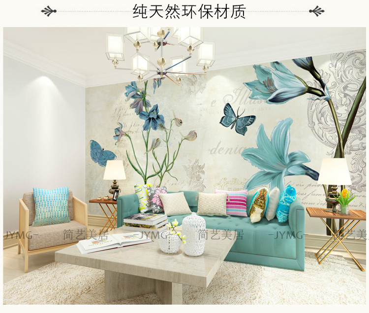 Photo wallpaper European Style Floral muyral living room theme hotel KTV bedroom background retro blue butterfly wallpaper mural large mural wallpaper wallpaper theme hotel theme hotel bar club star monroe ktv