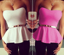 Women Sexy Strapless Peplum Top Summer Tube Tank Cami Top Shirt Belted White Rose Fashion All Match Vague
