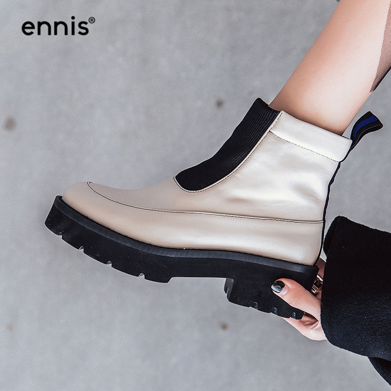 f113987748cd Detail Feedback Questions about ENNIS 2018 Flat Platform Ankle Boots Med  Heel Genuine Cow Leather Boots Women Winter Autumn Boots Black White Female  Shoes ...