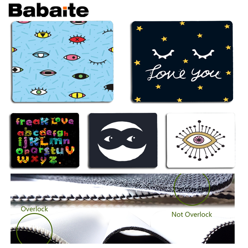 Babaite Top Quality Beauty Eye Eyelash Cartoon Design Computer Gaming Mousemats Size for 18x22cm 25x29cm Rubber Mousemats