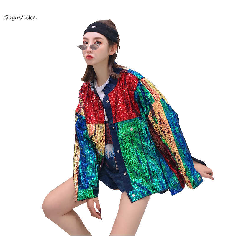 Women Jean jacket Sequins 2019 Spring Motorcycle Denim Coat girl Rainbow Party Bar coats Punk Loose