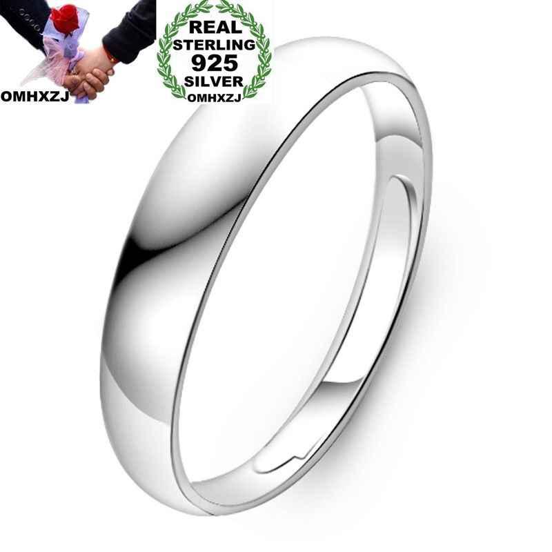 OMHXZJ ขายส่งยุโรปผู้หญิงผู้หญิงแฟชั่นผู้หญิงงานแต่งงานของขวัญ Silver Simple Blankt ปรับขนาดได้ 925 เงินสเตอร์ลิงแหวน RR263