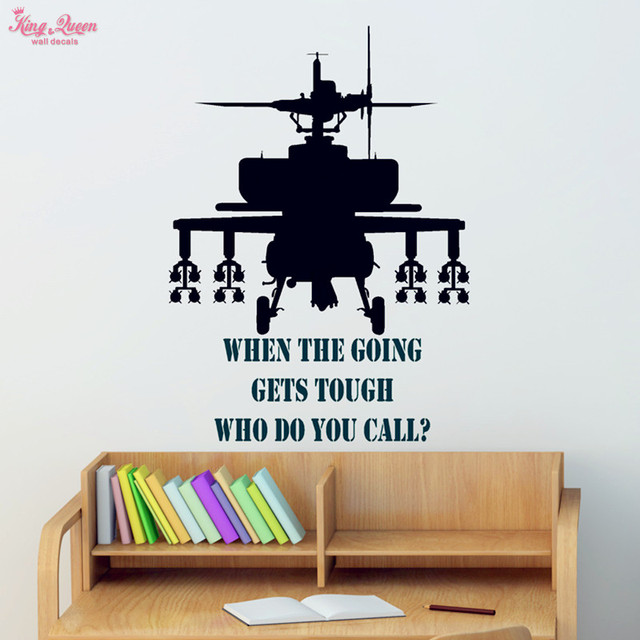 Gunship Wall Sticker Vinyl Quotes Decals Teen ,Boys Bedroom Wall Art  Decoration Military Fans Children Images
