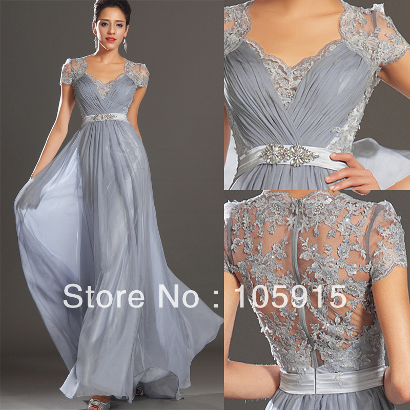 Hot New Elegant Silver Grey Ruched Floor Length Evening Dress Lace ...