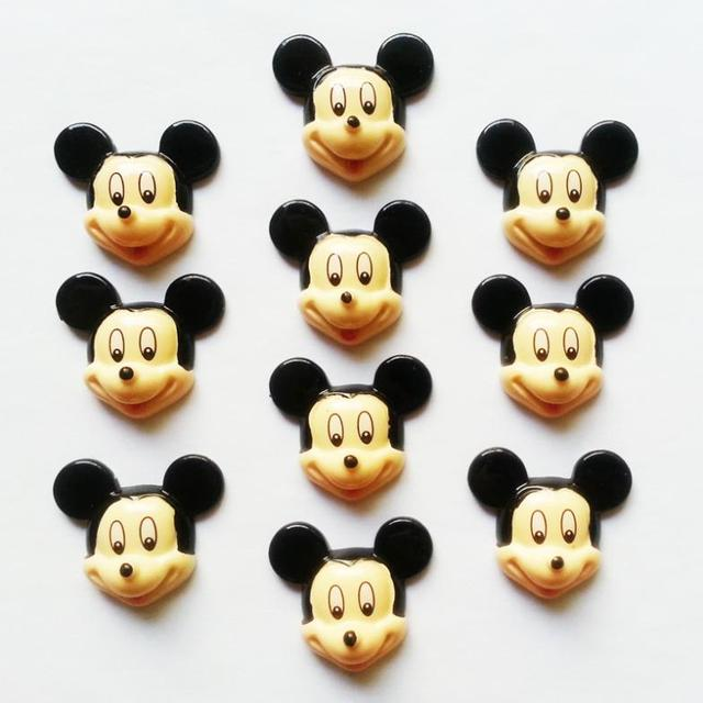 """50 pcs Mickey Mouse Resin Cabochon FlatBack Scrapbooking Girl Embellishments for Hair Bow Garden Decoration Accessories 1.2"""""""