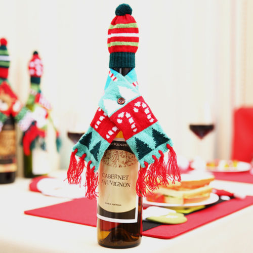 Kerst Wijnfles Cover Huishoudelijke Tafel Party Decor Wrap Hoed Top Sjaal Gift Wrap