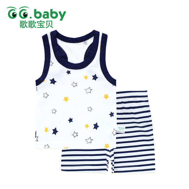 Baby Girl Boy Summer Clothes Set Sleeveless Baby Boy Vest Sets Tshirt Newborn Clothes Outfits Summer Suit For Boy Navy Clothing 1