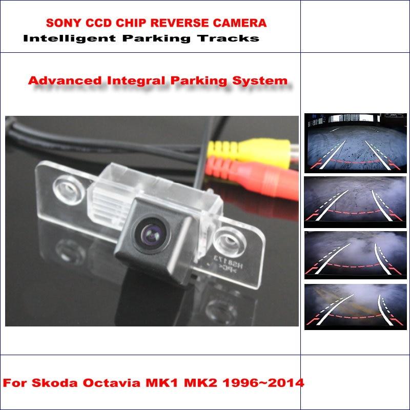 Intelligent Parking Tracks Rear Camera For Skoda Octavia MK1 MK2 1996~2014 Backup Reverse NTSC RCA AUX HD SONY CCD 580 TV Lines backup rear reverse camera for roewe 350 mg 350 2010 2016 hd 860 576 pixels 580 tv lines intelligent parking tracks