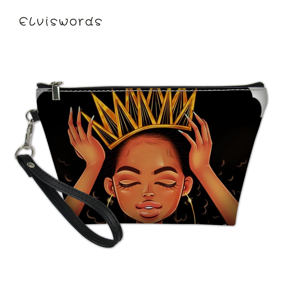 ELVISWORDS Fashion Female Cosmetic Bags African Girls Prints Pattern Women Small Travel Make Up Bag Girls Organizer Toiletry Bag in Cosmetic Bags Cases from Luggage Bags