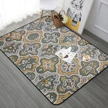 Alfombra rectangular Vintage europea para sala de estar dormitorio alfombra de suelo Floral alfombra suave mesa de café esteras de juego para niños