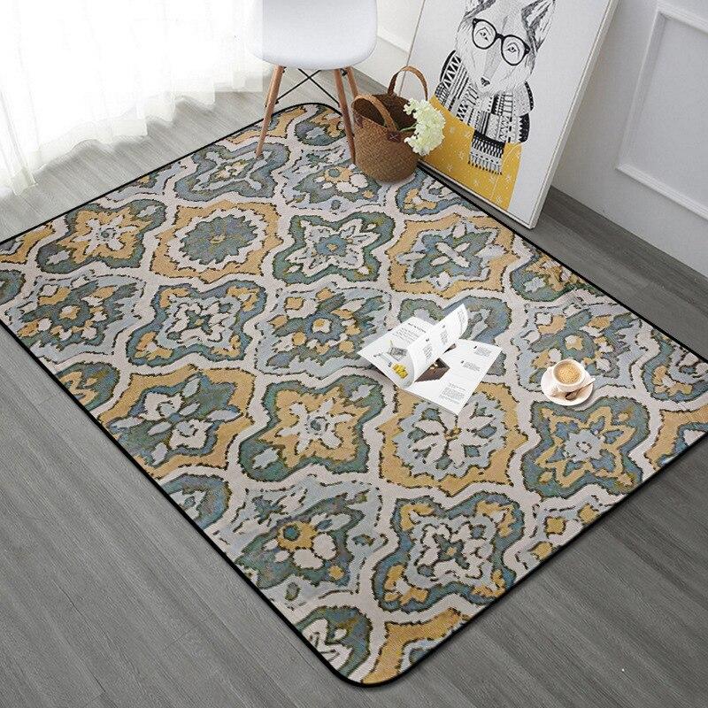 Tapis Rectangle Vintage européen pour salon chambre tapis de sol Floral tapis de zone douce Table basse enfants jouer tapis de jeu