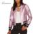 Limão Outono Mulheres Bolso Lateral Ocasional Formação Brasão Zipper Sólidos Rosa Metálico Contraste PU Jaqueta Slim Jaqueta Estilo de Rua