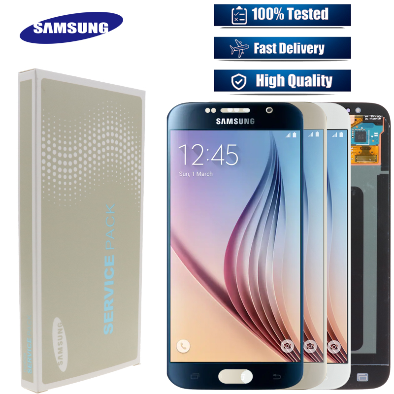 SUPER AMOLED 5 1 Display with Burn Shadow LCD with Frame for SAMSUNG Galaxy S6 G920