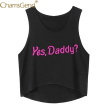 Chamsgend Hemd Frauen JA PAPA? Brief Drucken Ärmel Crop Top Weiblichen Sommer Strand Tank Top 80321(China)