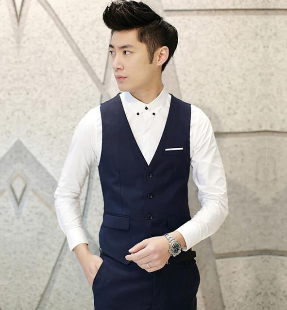 b90fc9477b New Men Suit Vest V-neck Slim Fit Fashion Men Vest Casual Solid Color Male  Blazer Business Vest 8 Color