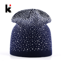 Femal Winter Beanie Hats Rabbit Wool Knitted Caps Women Flashing Rhinestone Bonnet For Girl Skullies Hat