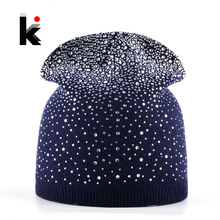 Female Winter Beanie Hats Rabbit Wool Knitted Cap Women Flashing Rhinestone Bonnet For Girl Skullies Hat