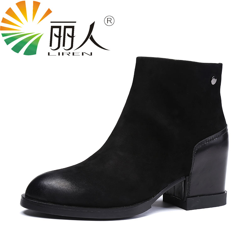 LIREN Autumn Winter Snow Boots Square High Heels Shoes Casual Martin Boots Women Fashion Zipper Genuine Leather Ankle Boots new autumn winter warm women shoes snow boots square high heels artificial leather top casual female elastic band ankle shoes