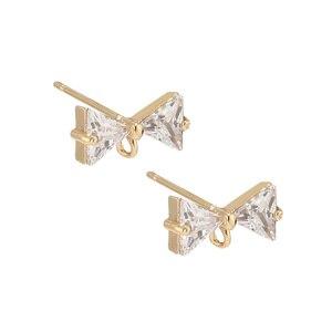 6 шт золотые серьги бабочка в форме галстука латунные шпильки посты Серьги компоненты со стразами