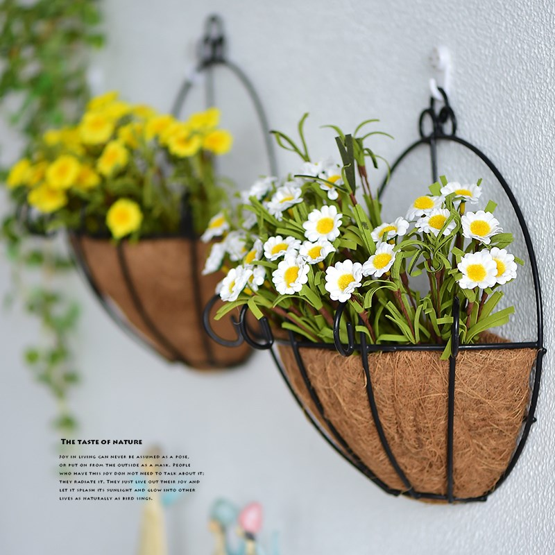 2 Sizes Half Round Planter Basket Wall Hanging Planting Pot Outdoor Garden Decor