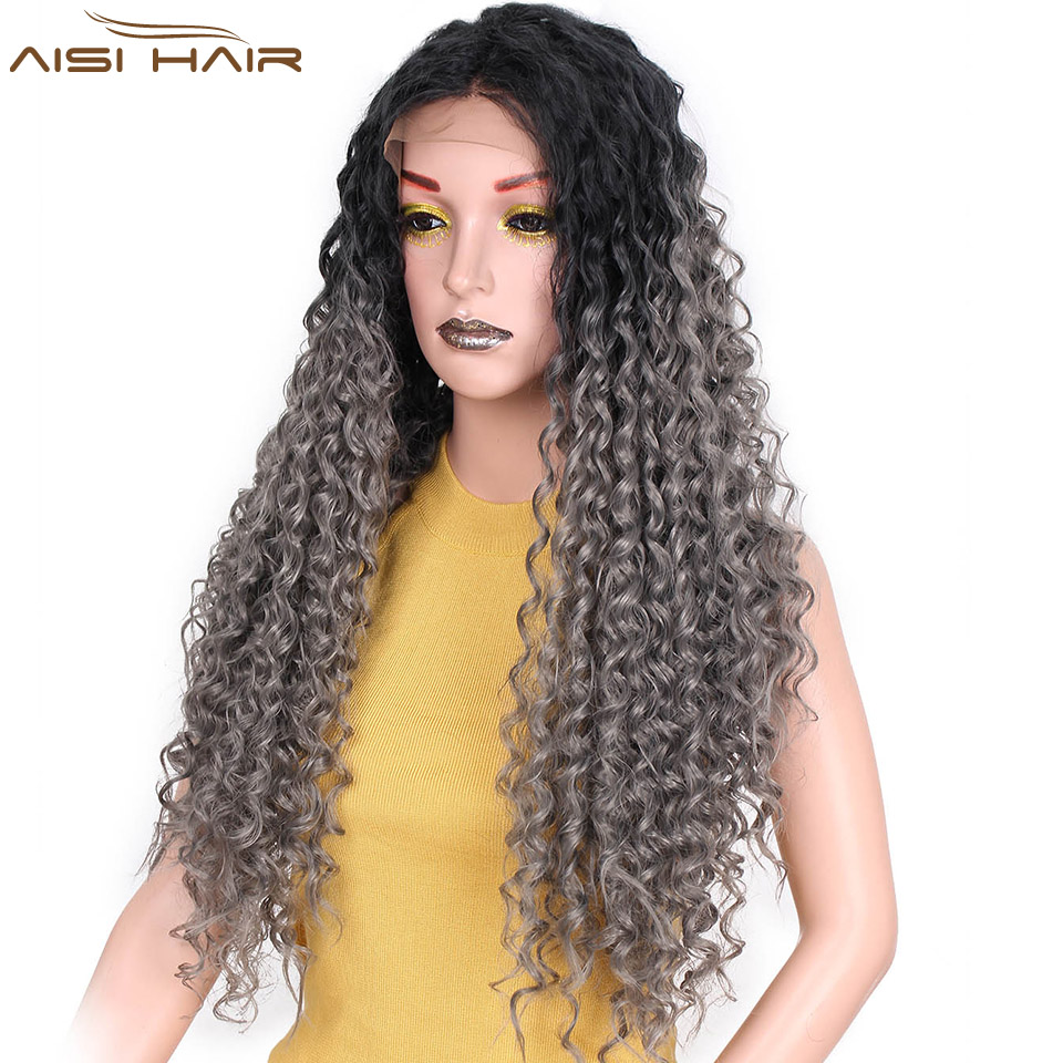 I s a wig Long Omber Grey Kinky Curly Wig 22 inch Synthetic Front Lace Wigs