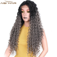 I's a wig Long Omber Grey Kinky Curly Wig 22 inch Synthetic Front Lace Wigs for Women Baby Braided Hair Temperature Fiber