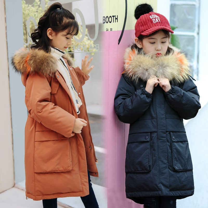 2018 New Winter Girl Duck Down Jacket Thick Hooded Long Children Coat Outerwear Overcoat Clothes Parka Real Raccoon Fur Clothing цена