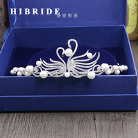 HIBRIDE Fashion Women Bridal Pearl Headband Hair Accessories Crystal Bridesmaid Tiaras Crown Jewelry C 12