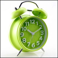 By DHL Or EMS 50 Pcs Silent Double Bell Alarm Clock Quartz Movement Bedside Night Light