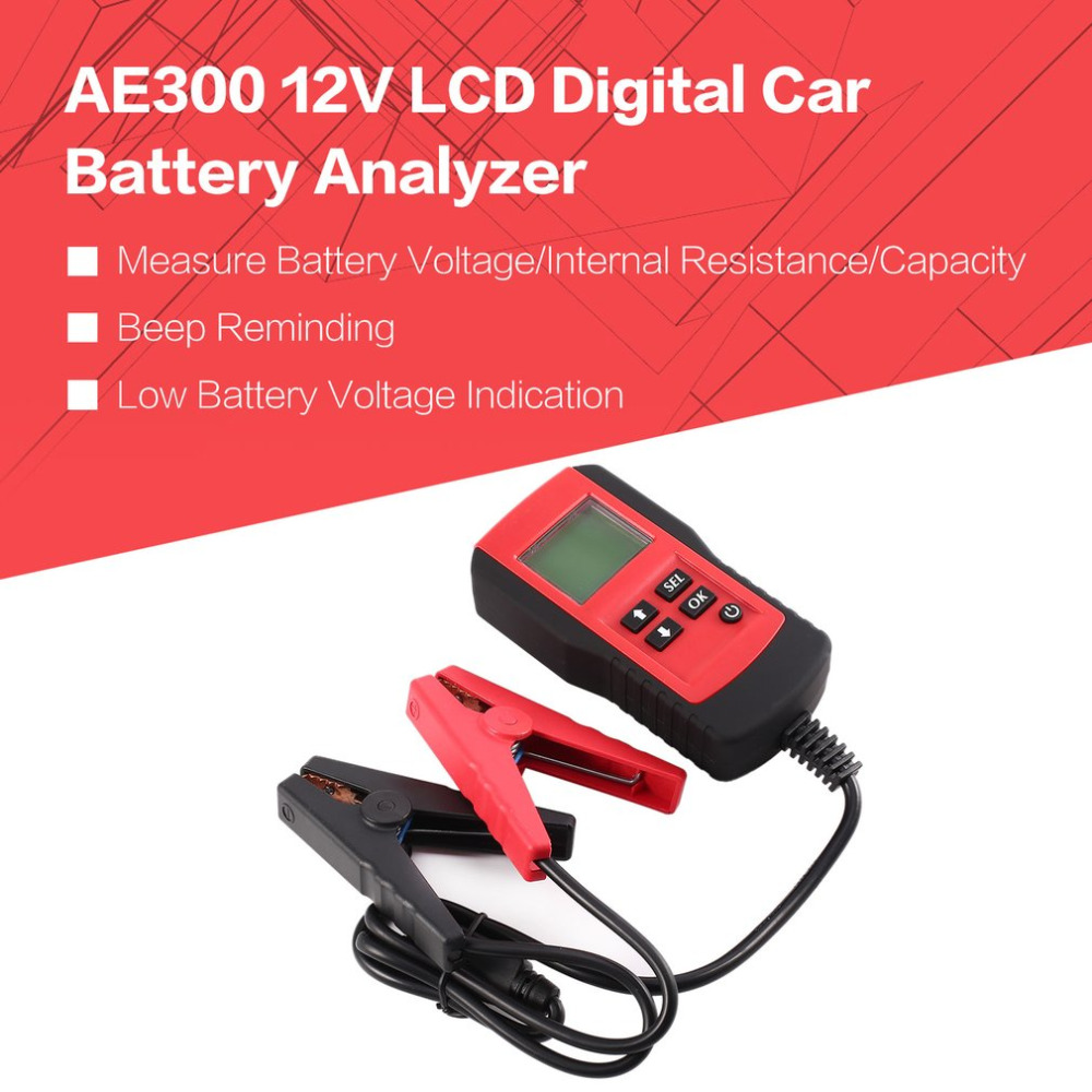 AE300 12V LCD Digital Car Battery Auto System Analyzer Automotive Vehicle Battery Voltage ohm Tester Diagnostic Tool RED