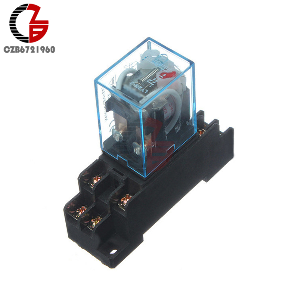 Power Relay LY2NJ Socket Base 220V AC Coil Miniature Relay DPDT 8 Pins 10A 240VAC LY2 HH62P LY2 JQX-13F with PTF08A 10pcs 24v dc coil power relay dpdt ly2nj hh62p l jqx 13f
