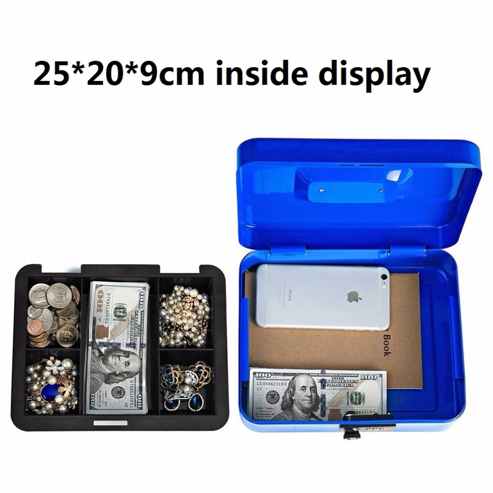 250mm*200mm*90mm Password Lock Small Steel Safe Boxes Store Content Box Paper Piggy Bank Card Document Boxes