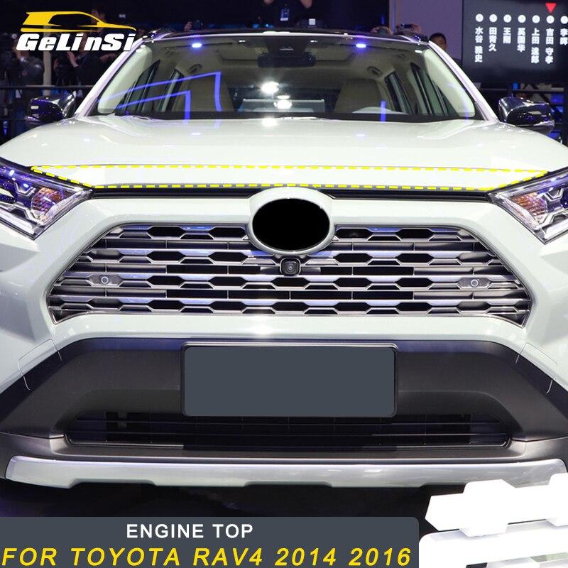 Gelinsi pour Toyota RAV4 2019 voiture style moteur capot supérieur couvercle cadre garniture autocollant accessoires extérieurs