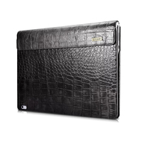 For Microsoft Surface Book 13 5 Sleeve Bag Embossed Crocodile Genuine Leather Detachable Flip Case Black