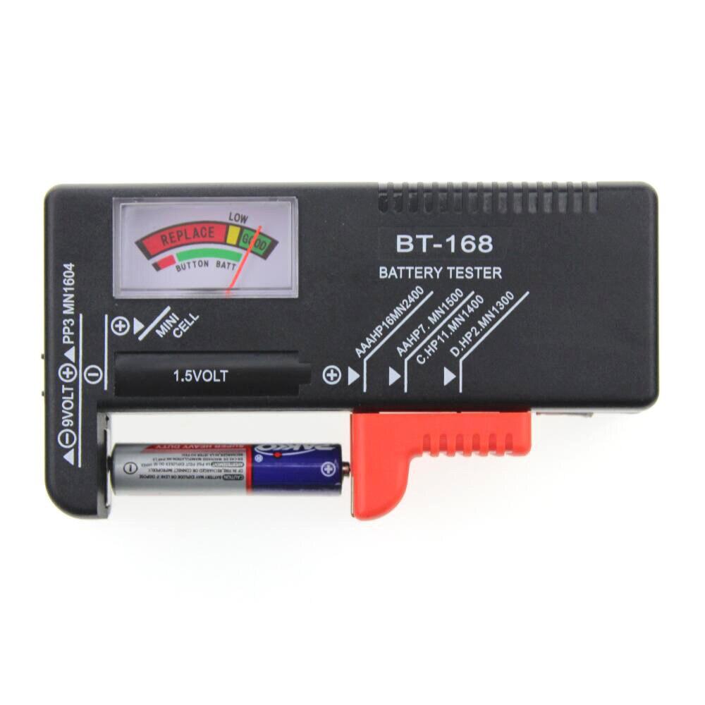 BT-168D Digital Battery Tester Volt Checker 9V 1.5V Button Cell Rechargeable AAA AA C D Universal Battery Test