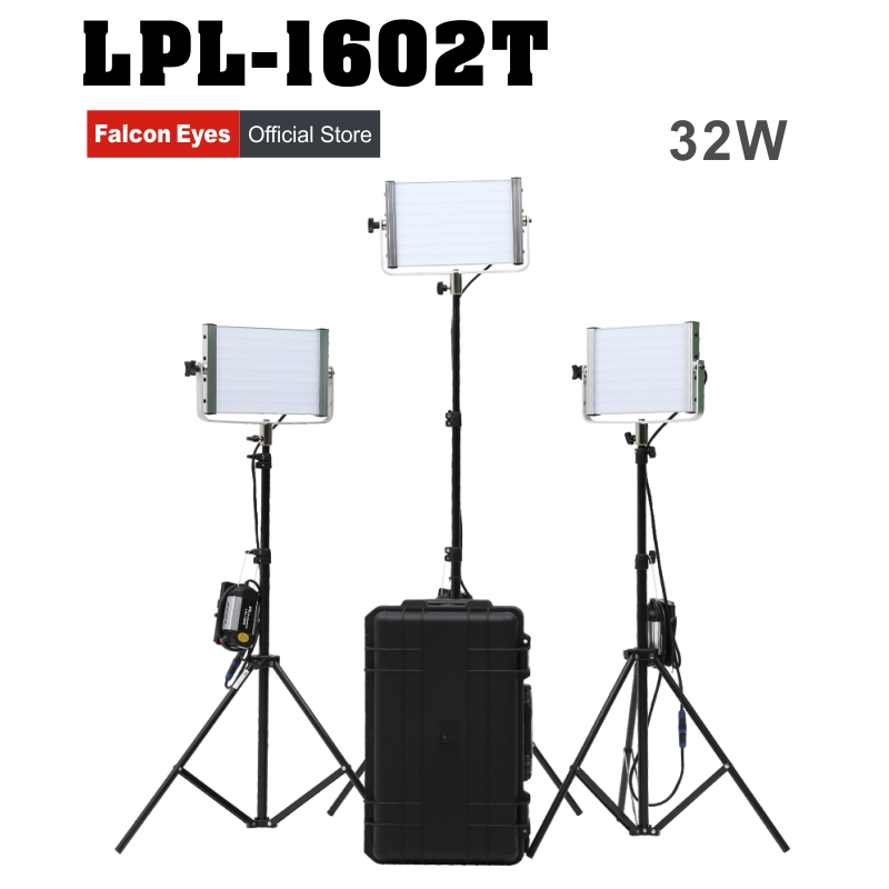 Falconeyes Diving Video Light 32W Daylight Panel Light Dimmable 120pcs LED Studio Photo Video Interview Lighting LPL-1602T Kit cheap dimmable 1200w hmi fresnel light daylight electronic ballast with case lighting film for movie light sdutio lighting
