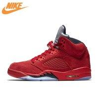 Nike Air Jordan 5 rode Suède AJ5 mannen Ademende Basketbal Schoenen Sport Sneakers Nieuwe Collectie Officiële