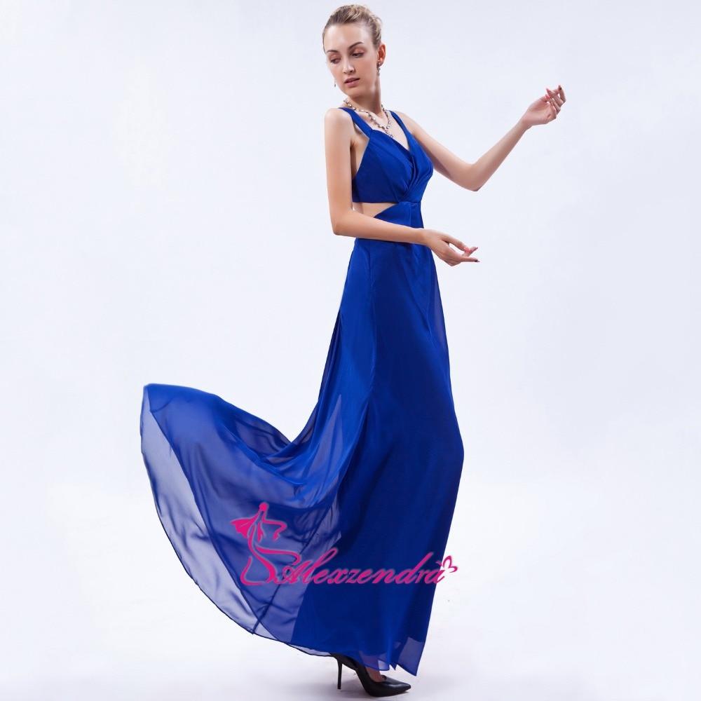 Alexzendra Royal Blue Chiffon A Line   Prom     Dresses   Sweetheart Crossed Back Party   Dress   Evening   Dresses   Plus Size
