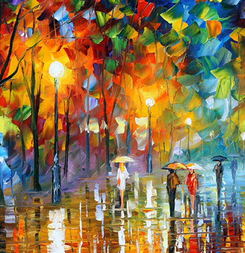 Купить с кэшбэком Large Handpainted Lover Rain Street Tree Lamp Landscape Oil Painting On Canvas Wall Art Wall Pictures For Living Room Home Decor