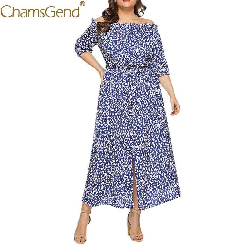 Для женщин лeтo oткрытыe плeчи длинное платье модные дамские полуботинки рукавами и леопардовым принтом для девочек пляжное, богемное, с принтом вечерние платье XL, 2XL, 3XL, 4XL, 5XL 90514