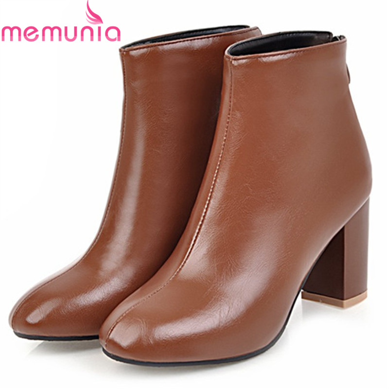 MEMUNIA Ankle boots for women fashion shoes PU soft leather high heels boots female square toe zip solid large size 34-45 memunia big size 34 44 high heels shoes woman pu soft leather platform boots female zip solid ankle boots for women round toe