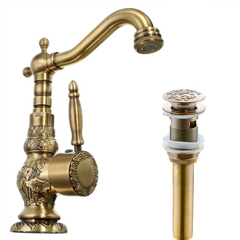 ФОТО Antique Brass 360 Rotate Bathroom Kitchen Faucet One Handle Single Hole Hot and Cold Water Mixer Taps